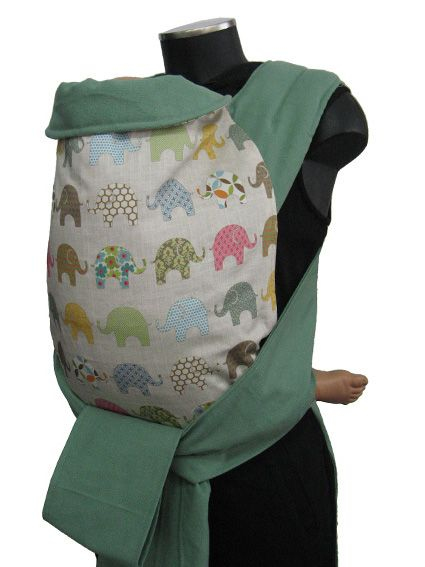 Εξωτερικά: Ελεφαντάκια - designer fabric (4364) Εσωτερικά: Πράσινο του κάκτου (4104) Ράντες: Πράσινο του κάκτου (4104)