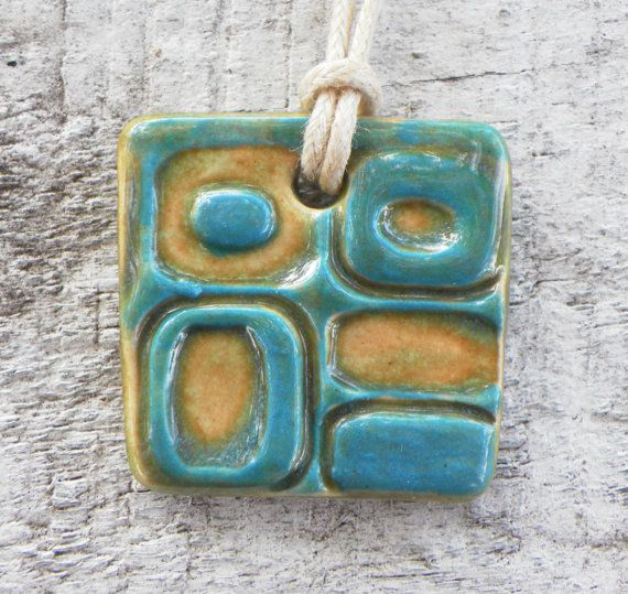 Contemporary Geometric Square Ceramic Pendant Necklace by BluMudd, $8.00