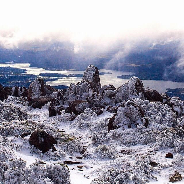 Good morning Hobart! It's a snow day up on the summit of kunanyi/ Mount Wellington (Pic: @GrahamMFreeman via IG)