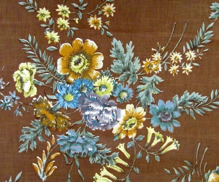 3.3m Vintage Sanderson Fabric  Linen Floral English Bouquets brown blue yellow
