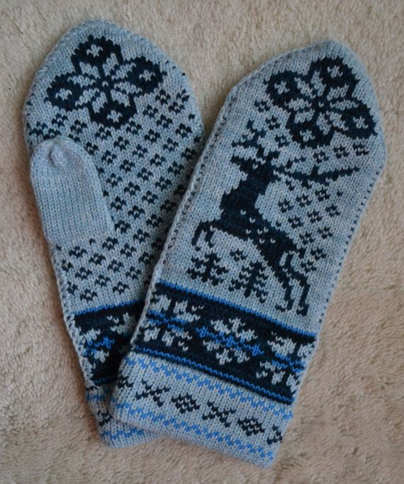 These remind me of mittens I had as a kiddo.  Norwegian Scandinavian hand crafted 100 Wool by NordicStarStudio, $26.50