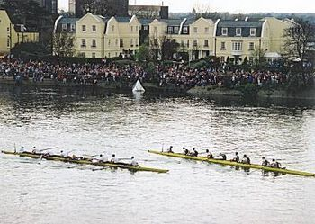 The Boat Race on the River Thames between Oxford and Cambridge Universities has been held anually since 1829