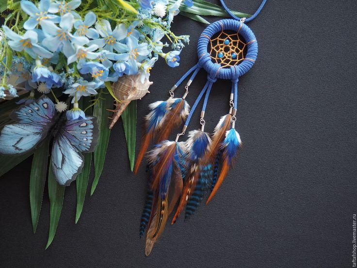 Ночное небо в пустыне - сине-коричневый кулон ловец снов с перьями - перья, перо