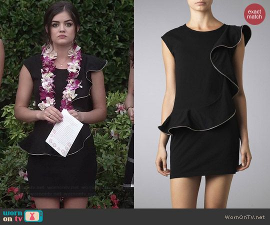 Aria's black ruffled funeral dress on Pretty Little Liars.  Outfit Details: http://wornontv.net/42113/ #PLL