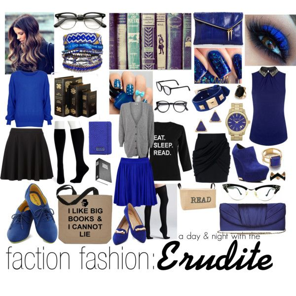 """""""faction fashion: a day & night out with the erudite"""" by sunkissedaloha on Polyvore"""