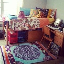 Dorm idea... love that rug. I want to lift my bed like this