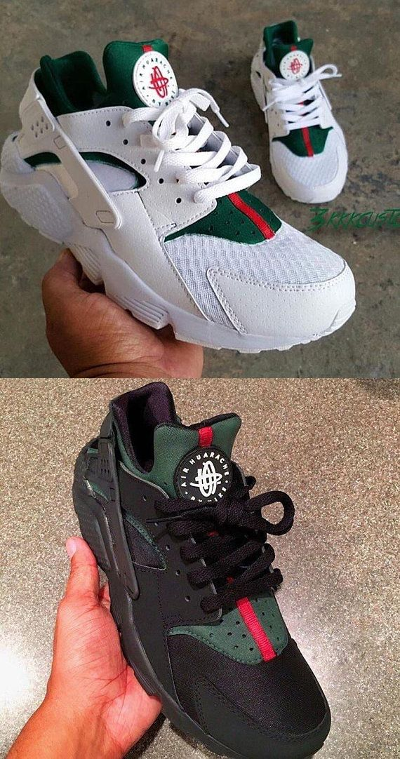 4ef7530053f Custom Nike Huarache Sneakers Hand Painted Embroidered Shoes Gucci Louis  Vuitton Supreme Bape Champion