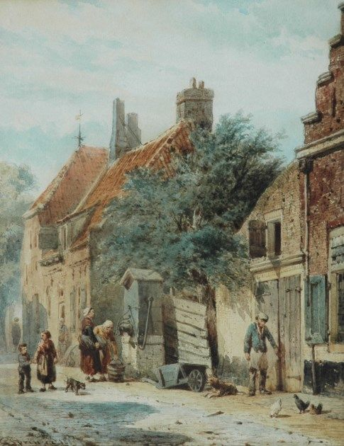 Cornelis Springer (Amsterdam 1817-1891 Hilversum) The Grote Poortstraat, on the corner of the Kromhoutsteeg, in Harderwijk - Dutch Art Gallery Simonis and Buunk Ede, Netherlands.