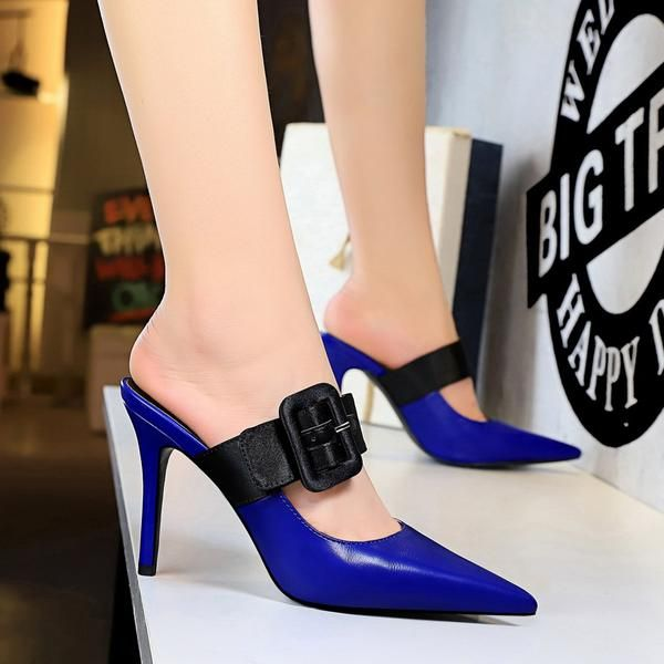 Womens Ladies Slip on Mules Block Heel Front Strap High Heels Sandals Shoes Size