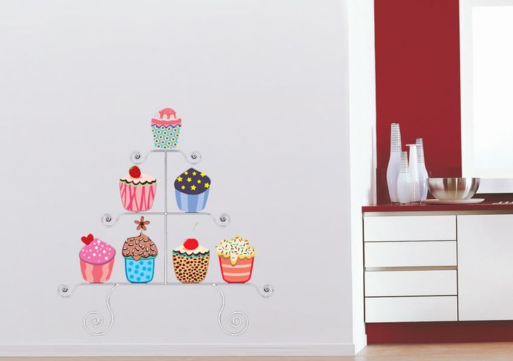 Cupcakes Collection Stand Kitchen Printed Wall Sticker. www.wallart-direct.co.uk Use these instead of wall paper. Easier to repaint walls and peel off stickers for new ones, cheaper too maybe more likely to be refreshed