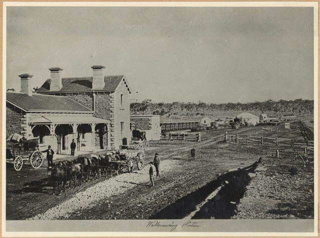 Wallerawang Railway Station in New South Wales,in the early 1870s where the main street was still a dirt track.The Goods shed and Gate Keeper's Cottage can be seen in the background.A♥W