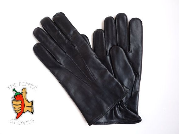 Lambskin black leather winter men gloves with by paprikastory