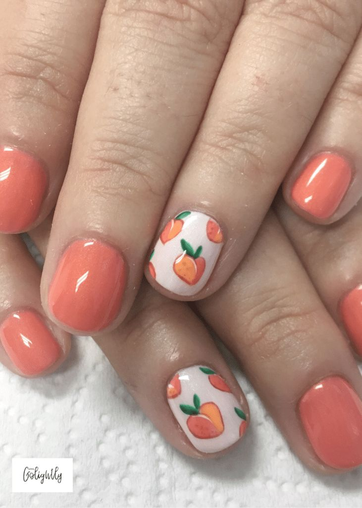 Peach Nail Art Designs for Fall Seasonal Fruit