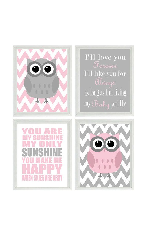 Nursery Art Owl Print Set  - You Are My Sunshine Quote - Owls Gray Pink - Chevron - Baby Girl Room - Custom Wall Art - Set Of 4 8x10 - on Etsy, $50.00