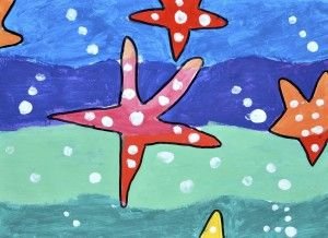 Starfish, warm and cool colors