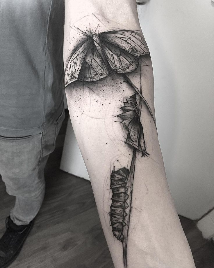 Caterpillar transformation sketch style tattoo by kamilmokot.   The lines are irregular and there is a general messiness to these sketch style tattoos that make them the epitome of originality and creativity. Enjoy!