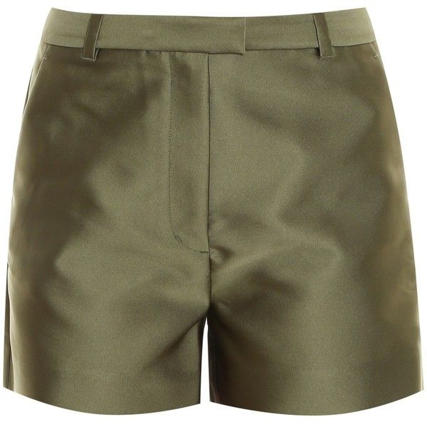 3.1 Phillip Lim Satin Shorts ($203) ❤ liked on Polyvore featuring shorts, zipper shorts, puffy shorts, olive green shorts, flat front shorts and a-line shorts