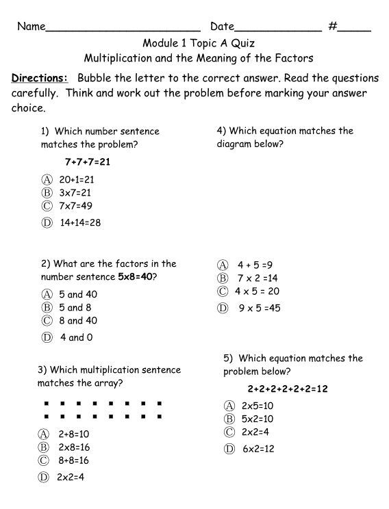 Looking for resources aligned to the Eureka Math Modules? Lafayette Parish in Louisiana has developed many resources and were very kind to share. Check out the Grade 3 resources here. Of particular interest may be the Topic quizzes. Click on any one of the Module folders and then the Assessments folder to access them.