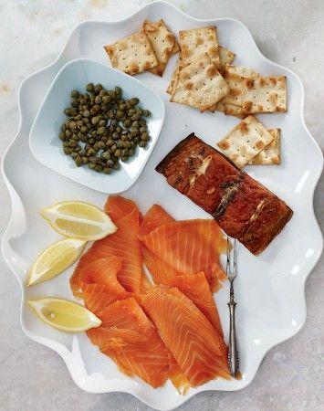 Smoked bluefish by Fox Seafood and cold smoked Atlantic salmon by Sullivan Harbor Farm Smokehouse.
