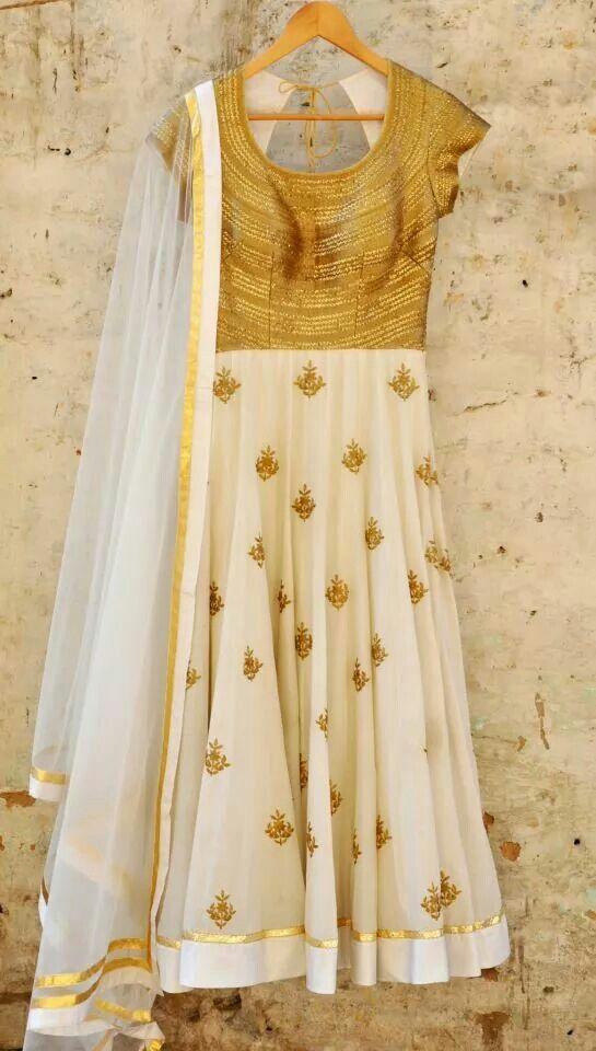 Stunning white and gold anarkali
