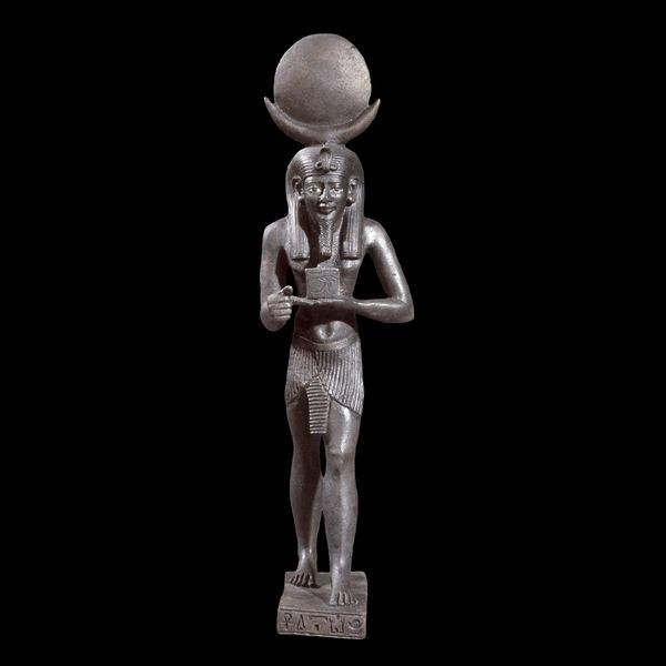 Bronze statuette of the moon god IahFrom EgyptLate Period, after 600 BCThe moon god Iah holding the eye of HorusThe British Museum