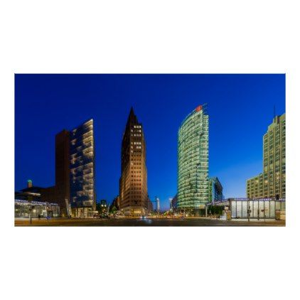 Skyscapers at Potsdamer Platz Berlin Germany Poster - modern gifts cyo gift ideas personalize