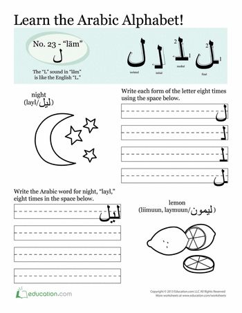 Find the full set of alphabet pages to learn Arabic.