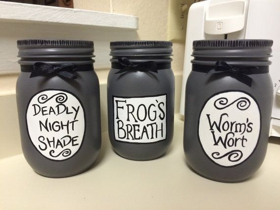 Nightmare Before Christmas Sallys Potions Deadly Night Shade Frogs Breath Worms Wort Home Decor Glass Regular Mason Jars Hand Painted