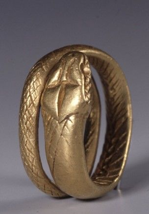 Gold finger-ring; in the form of a serpent coiled in two spirals. Roman