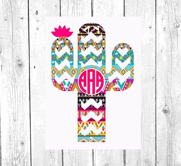 Cactus Monogram | Vinyl Decal | Aztec | Lilly Pulitzer | Personalized | Custom…