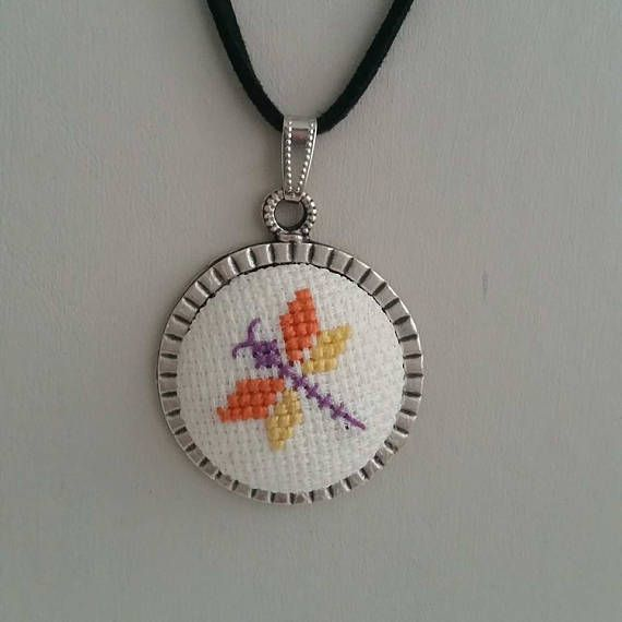 Cross stitch Necklace Dragonfly Cross stitch Necklace