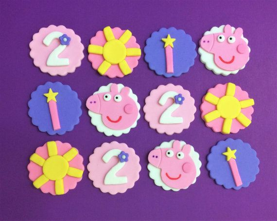 Peppa Pig fondant cupcake toppers #peppapigparty