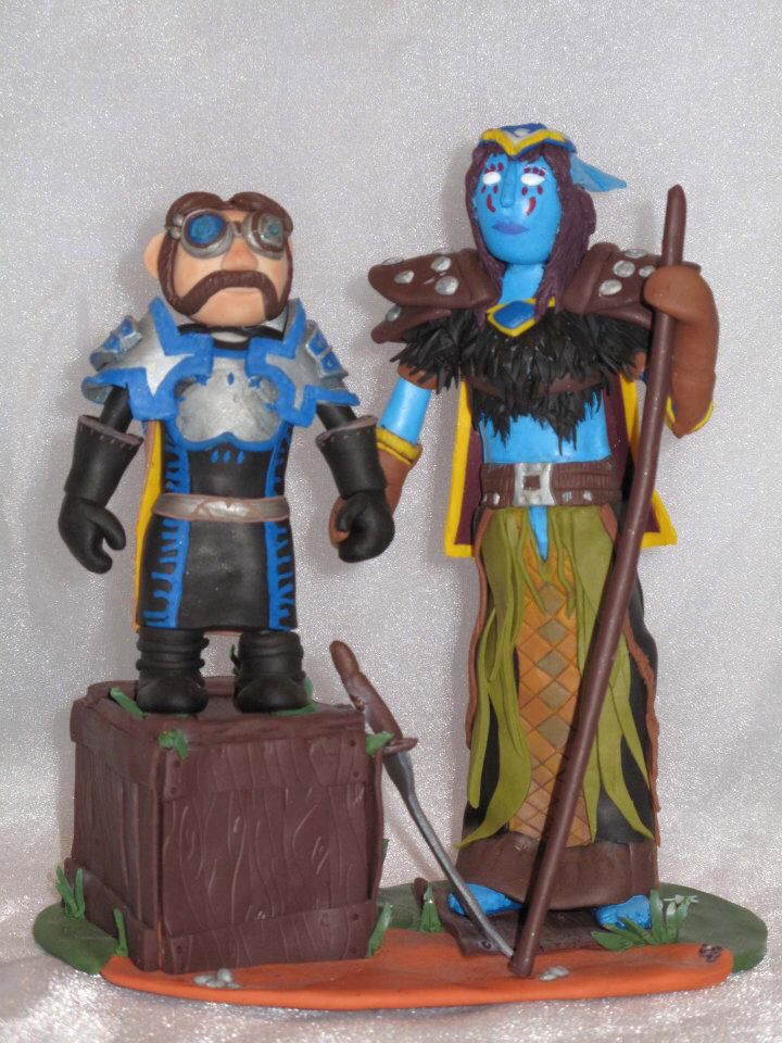 World of Warcraft inspired topper-night elf and gnome in character copied costume.