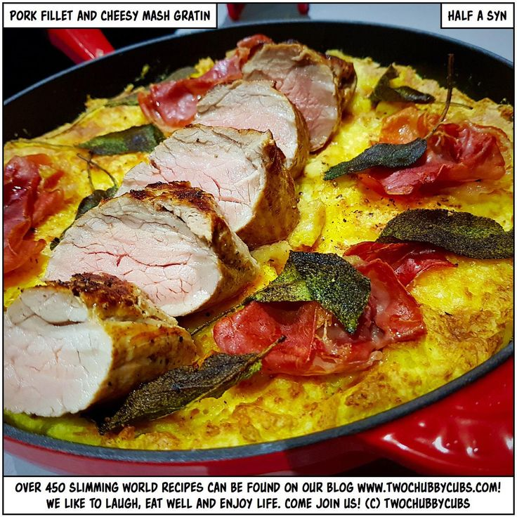 PLEASE LIKE AND SHARE! If you're looking for a quick, easy, tasty recipe for your pork fillet, this half-syn dish is absolutely perfect! Tasty, cheesy, porky perfection. Tonnes more Slimming World meals - over 450 at the last count - all sorted by syn and ingredient. Plus: we're pretty funny, apparently. Come and see!