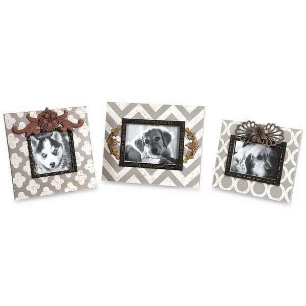 Patterned Picture Frames, Set of 3 ($37) ❤ liked on Polyvore featuring home, home decor, frames, ornate frames, 4x6 frames, ornate picture frames, chevron home decor and 4x6 picture frames