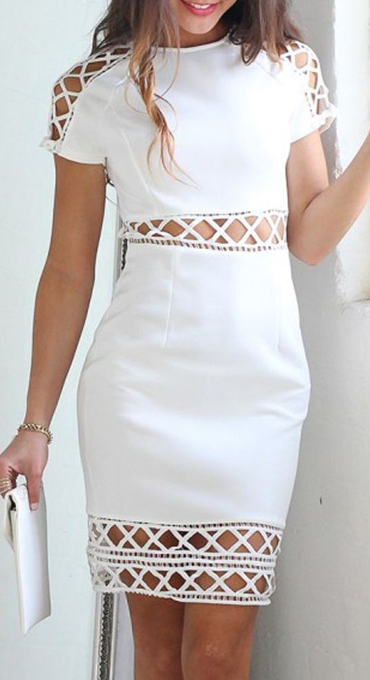 Get this Hot White Look. White Cut Out Strappy Short Sleeve Dress.