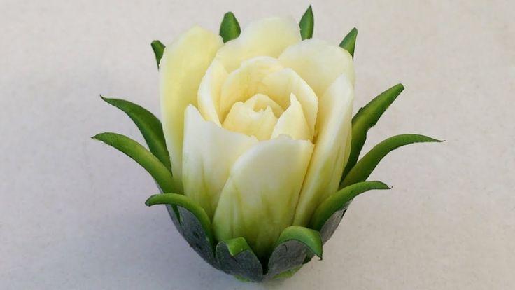 Zucchini Cactus Rose Flower - Advanced Lesson 16 - Mutita Thai Art of Fruit Vegetable Carving