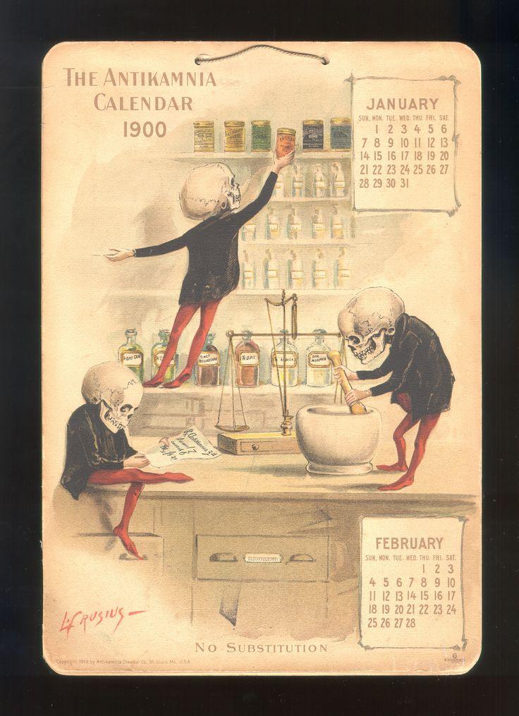 Calendrier dune entreprise pharmaceutique en 1899/1900 calendrier medicament 07 histoire design bonus