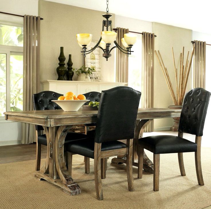 dining room table chairs and bench rustic sets trestle with casters hutch