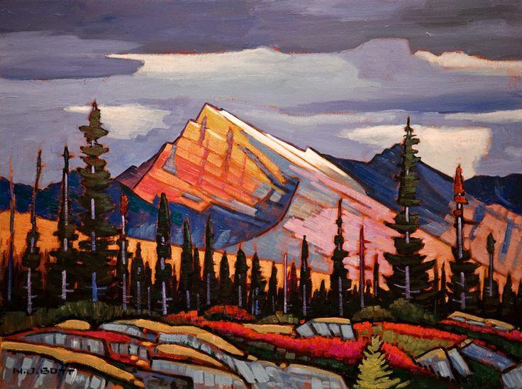 Nicholas Bott OIL Sunlit Kootenay Mountain