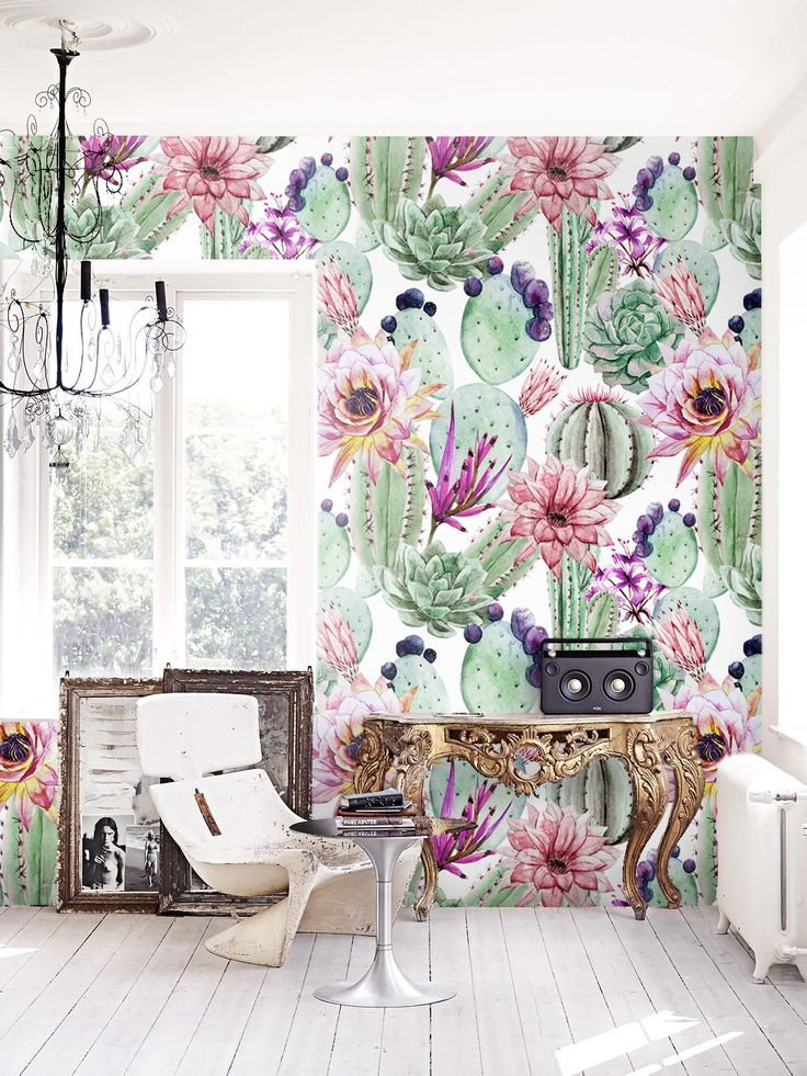 Watercolor cactus flowers removable wallpaper |  Cacti wall mural | Cactus print | floral wall décor | floral repositionable wallcovering by loveCOLORAY on Etsy https://www.etsy.com/uk/listing/465053654/watercolor-cactus-flowers-removable