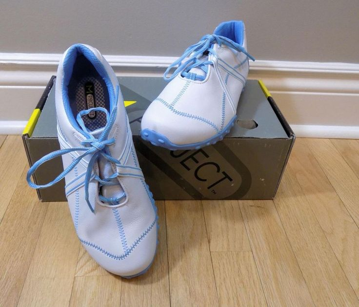 M PROJECT White Leather w/Blue Trim Golf Shoes w/Box NEW 9 M  FJ Style 95656 #MProject