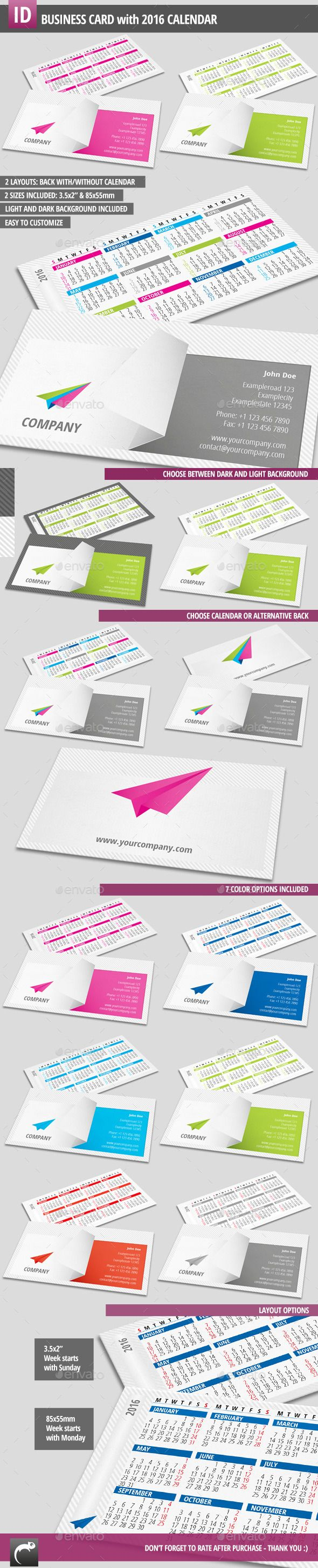 134 best calendar templates images on pinterest calendar calendar business card with 2016 calendar template indesign indd download here http wajeb Choice Image