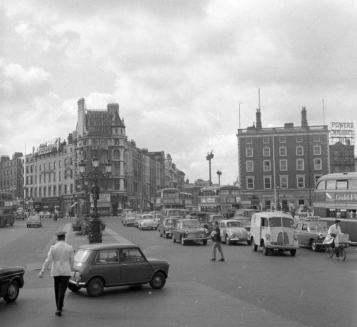 Traffic on O'Connell Bridge, Dublin, Ireland. 1964
