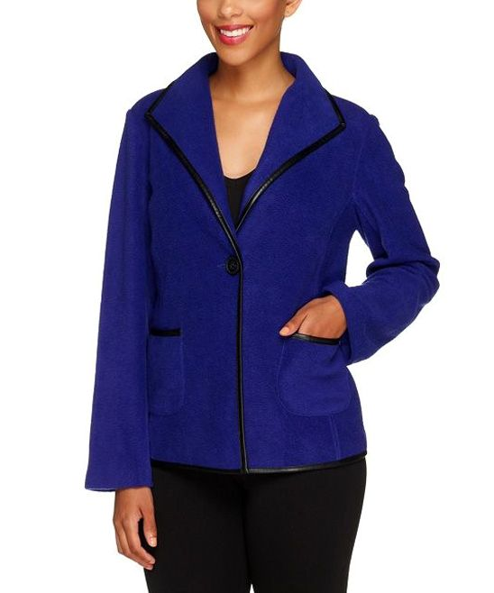 Electric Purple Faux Leather-Trim Fleece Jacket | Purple, Fleece ...