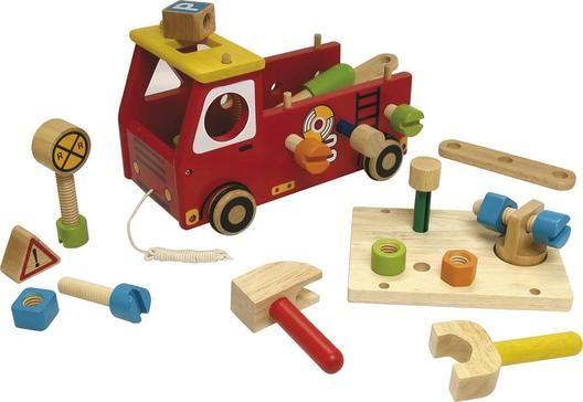 I´M Toy, Werkbank Feuerwehr, aus Holz mit viel Zubehör, ab 2 Jahren | 9731 / EAN:8850714270709