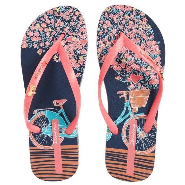 Women's Ipanema 'Bouquet' Flip Flop (€23) ❤ liked on Polyvore featuring shoes, sandals, flip flops, strappy shoes, floral shoes, floral pattern shoes, strap sandals and ipanema flip flops