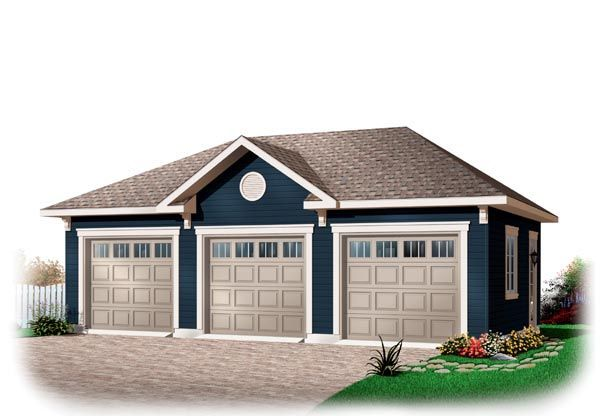 Garage Plan 76153 | Area: 768 sq ft, 3 bays, 32' x 24' #3cargarage #garageplan