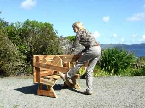 Folding Picnic Bench - A wood bench that unfolds into a picnic table