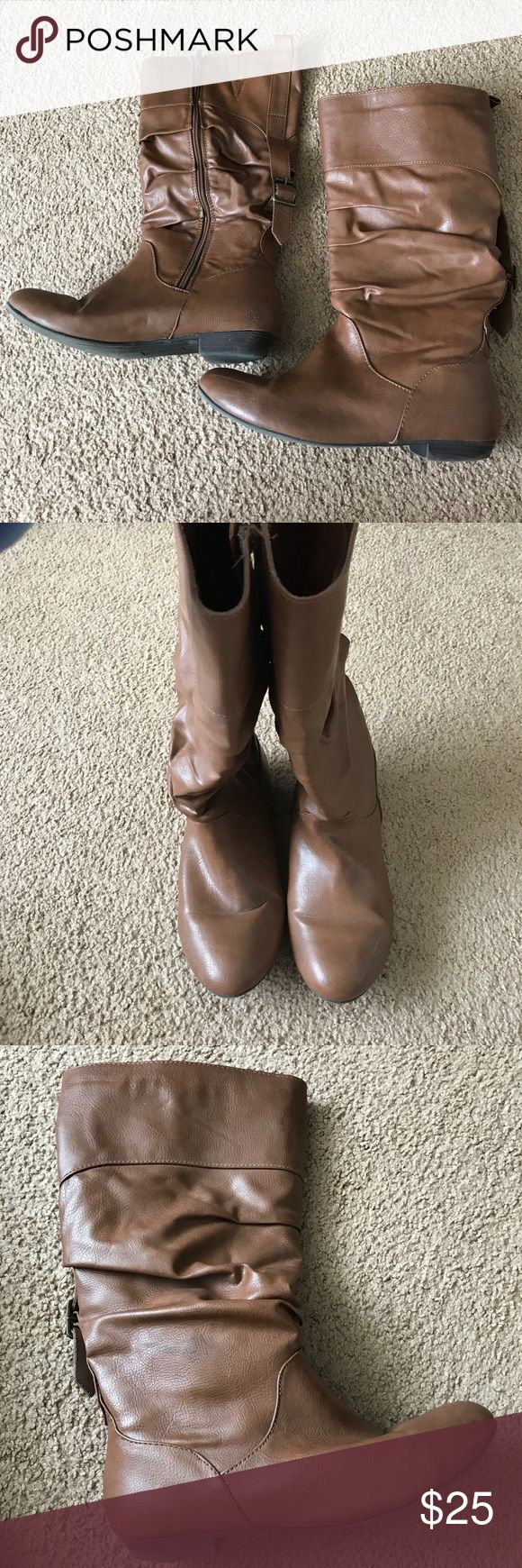 Express Brown Zip Up Boots Gently worn Express brown boots. Size 8. Made from man made materials. In good condition and perfect for dressing up your Fall outfits--please refer to pictures for more details. Some wear on heel and sides of shoes. Express Shoes